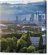 Moody Cityscape Of Moscow – Luzhniki Canvas Print