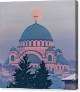 Moon In The Cross Of The Magnificent St. Sava Temple In Belgrade Canvas Print