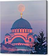 Moon On Top Of The Cross Of The Magnificent St. Sava Temple In Belgrade Canvas Print