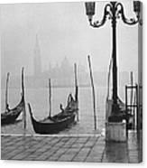 Moored Gondolas On A Foggy Grand Canal W Canvas Print