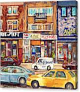 Morrie Heft Elizabeth Hager Le Chef Jj Joubert On Queen Mary Rd Stores C Spandau Montreal Canvas Print