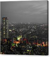 Mostly Black And White Tokyo Skyline At Night With Vibrant Selective Colors Canvas Print