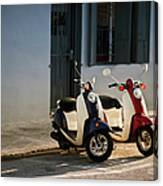 Motorbikes Parked On The Road Canvas Print