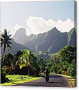 Motorcyclist On Polynesian Road Canvas Print