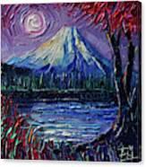 Mount Fuji - Textural Impressionist Palette Knife Impasto Oil Painting Mona Edulesco Canvas Print