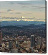 Mount Hood View Over Portland Cityscape Canvas Print