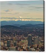 Mount Hood View Over Portland Cityscape Panorama Canvas Print