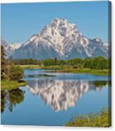 Mount Moran On Snake River Landscape Canvas Print