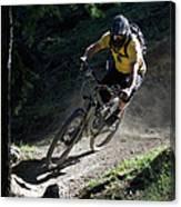 Mountain Biker On Dirt Path Canvas Print