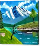 Mountain By The Lake Canvas Print