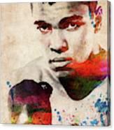 Muhammad Ali Watercolor Portrait Canvas Print