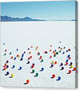 Multi-colored Balls On Salt Flats Canvas Print