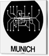 Munich Black Subway Map Canvas Print