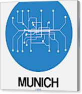 Munich Blue Subway Map Canvas Print