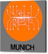 Munich Orange Subway Map Canvas Print
