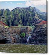 Napali Cave And Waterfall Canvas Print