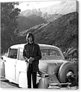 Neil Young And His Classic Car Canvas Print