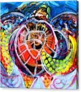 Neon Sea Turtle Wake And Drag Canvas Print