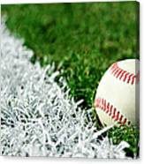 New Baseball Along Foul Line Canvas Print
