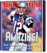 New England Patriots Qb Tom Brady, Super Bowl Xxxvi Sports Illustrated Cover Canvas Print