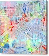 New Orleans Map Watercolor Canvas Print