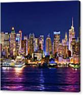 New York City Nyc Midtown Manhattan At Night Canvas Print