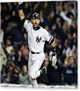New York Yankees Derek Jeter Celebrates Canvas Print