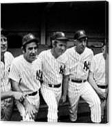New York Yankees Hall Of Famers At Old Canvas Print