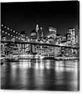 Night Skyline Manhattan Brooklyn Bridge Bw Canvas Print
