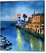 Nightfall In Cascais Portugal Canvas Print