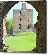 Norham Castle And Tower Through The Entrance Gate Canvas Print