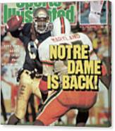 Notre Dame Is Back Tony Rice Leads The Irish Past No. 1 Sports Illustrated Cover Canvas Print