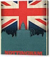 Nottingham England City Skyline Flag Canvas Print