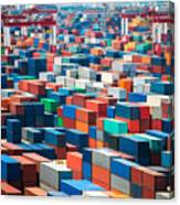 Numerous Shipping Containers In Port Canvas Print