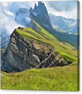 Odle Mountains Chain Separating The Canvas Print
