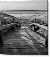 Ogunquit Beach Footbridge At Sunrise Ogunquit Maine Black And White Canvas Print