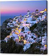Oia Lights At Sunset Canvas Print