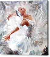 Oil Painting, Girl Ballerina. Drawn Canvas Print