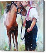 Oil Painting Of Little Girl Petting Her Canvas Print