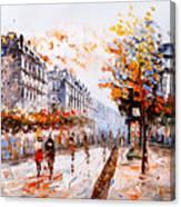 Oil Painting - Street View Of Paris Canvas Print