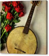 Old Banjo And Roses Canvas Print