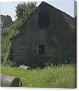 Old Barn And Hay Bales 3 Canvas Print