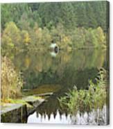 old boathouse at Loch Ard near Aberfoyle in autumn Canvas Print