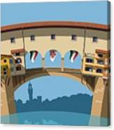 Old Bridge In Florence Flat Illustration Canvas Print