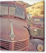 Old Friends Two Rusty Vintage Cars Jerome Arizona Canvas Print