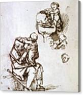 Old Man Playing With Child, 1635-1640 Canvas Print