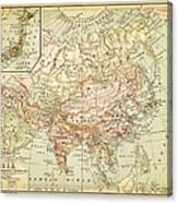Old Map Of Asia Canvas Print