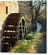 old mill wheel and stream at Preston Mill, East Linton Canvas Print