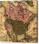 Old North America Map Canvas Print