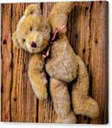 Old Teddy Bear Hanging On The Door Canvas Print